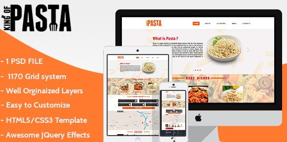 King of Pasta Website - Free HTML One Page Template