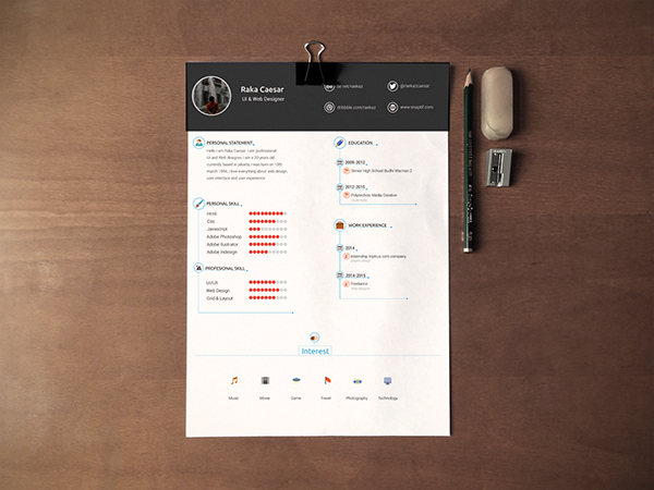 Clean Resume CV Template PSD