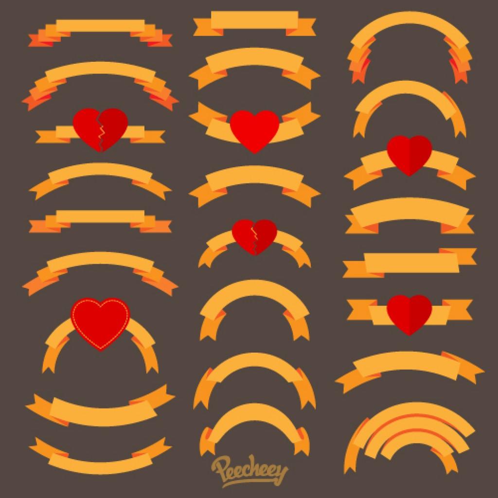 Love ribbons set