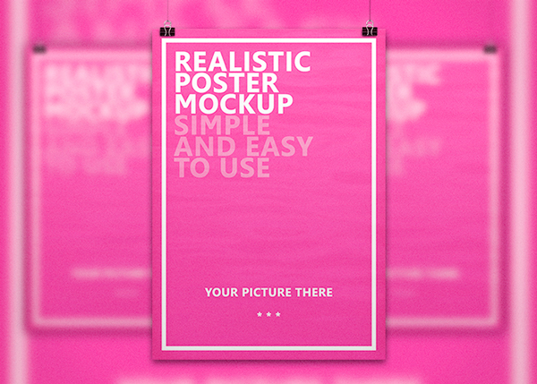 Realistic Poster Free Mockup