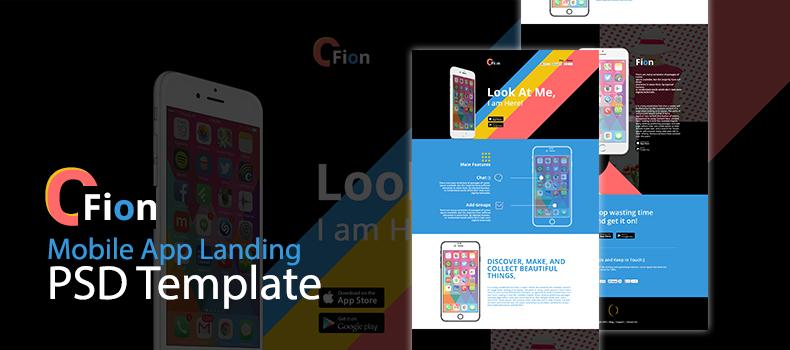 Fion – Mobile App Landing PSD Template