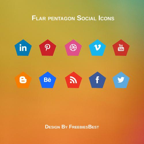 Flat pentagon shaped social Icons