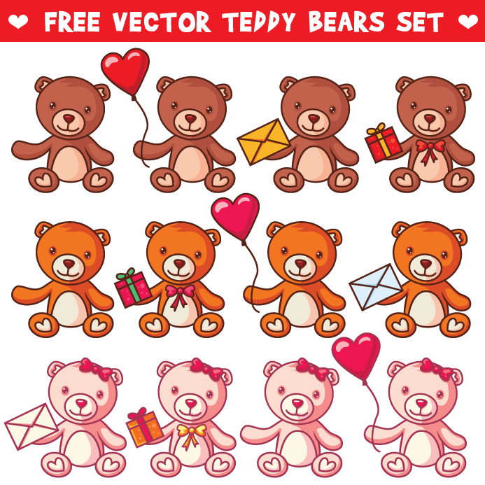 Free Vector Teddy Bears Set
