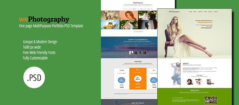 WePhotography – One Page Multipurpose Portfolio Template PSD