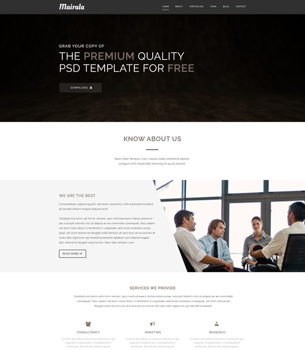 Free One Page Corporate Agency PSD Template MAIRALA