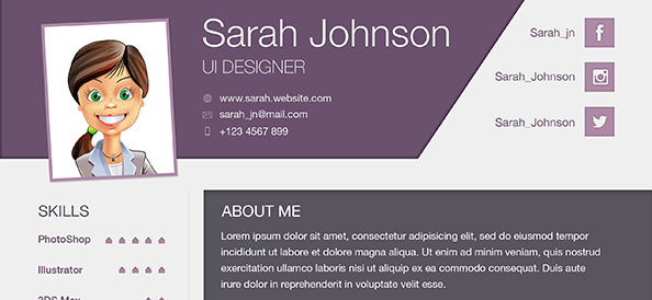 Free PSD Modern Business Resume