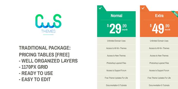 Freebie Pricing Tables