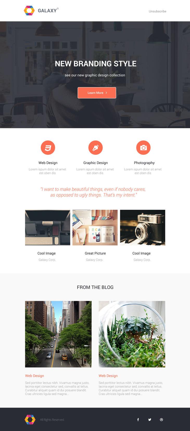 Galaxy - Beautiful Newsletter PSD Template