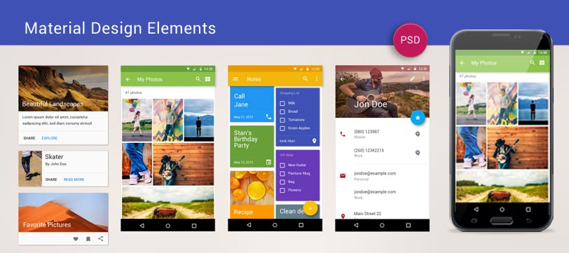 Material Design Elements PSD Freebie