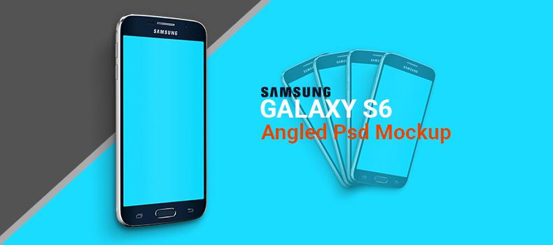 Samsung Galaxy S6 Angled Psd Mockup