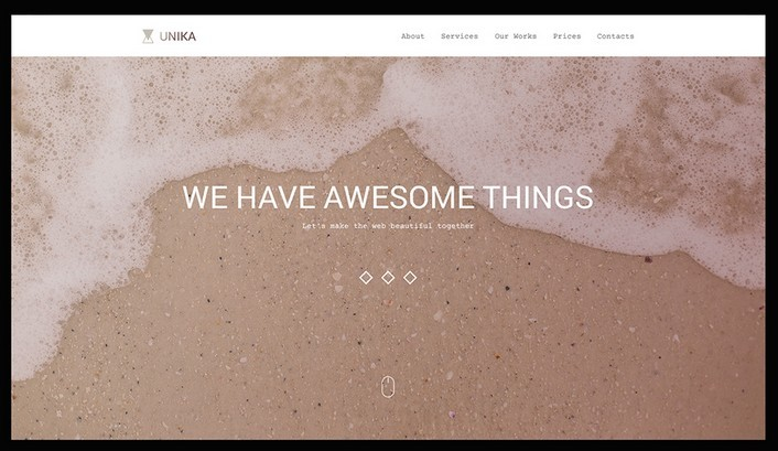 Unika. One page PSD template