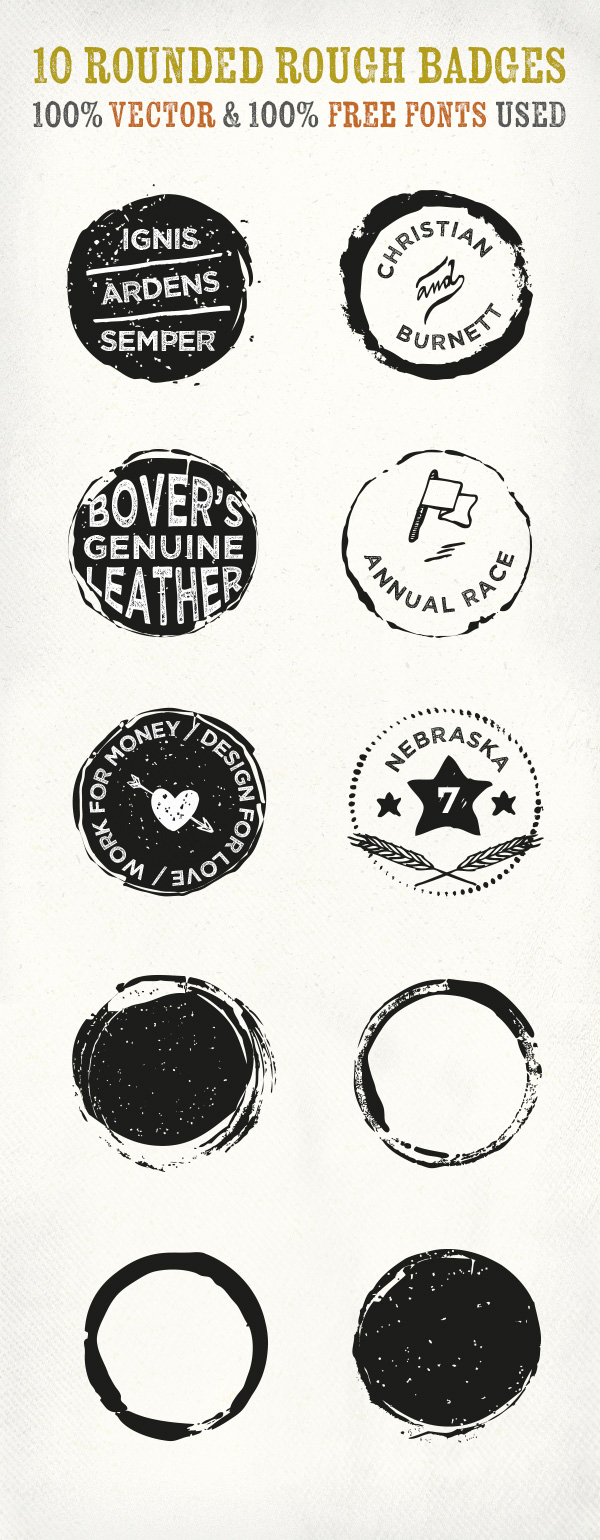 10 Rounded Rough Badges