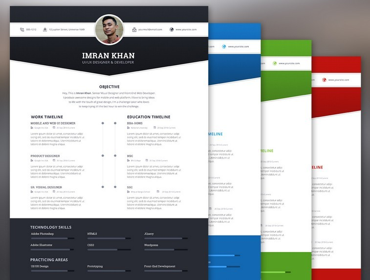 FREE Resume Template PSD (4 Color)  Free Unique Resume Templates