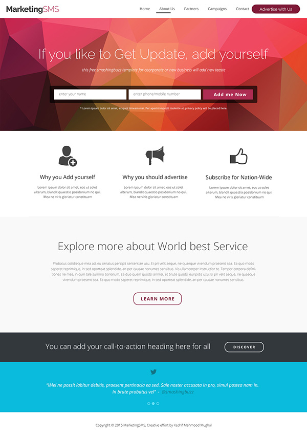 Free Business Landing Page PSD Template