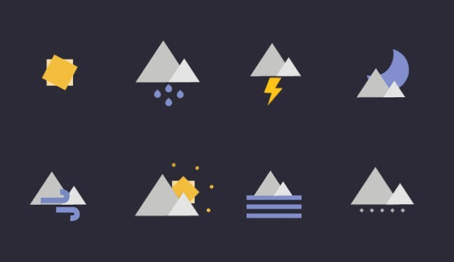 Geometric Weather Icons Vector