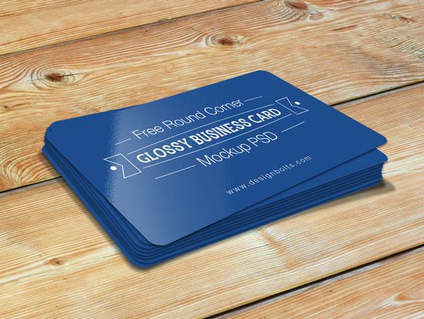 Free Round Corner Glossy Business Card Mockup PSD