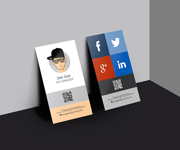 Free Vertical Business Card Design Template & Mock-up PSD File