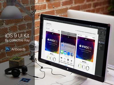 iOS 9 UI Kit - Artboards PSD