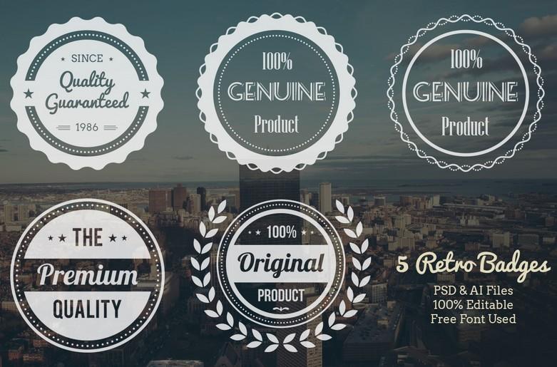 5 Retro Badges