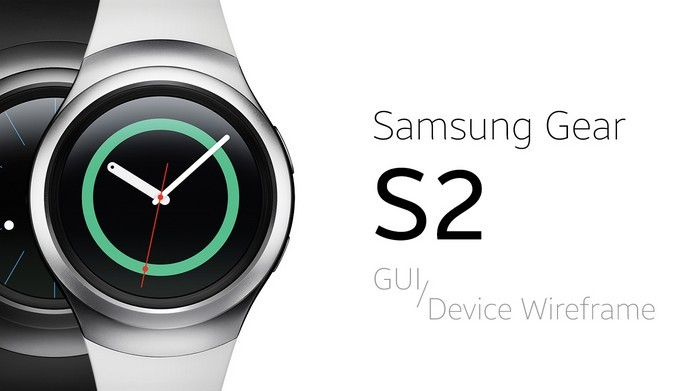 Samsung Gear S2 GUI & Device Wireframe (Free PSD)