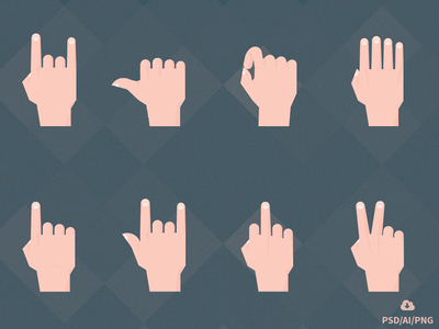 Free Set of Material Design Hand Gestures