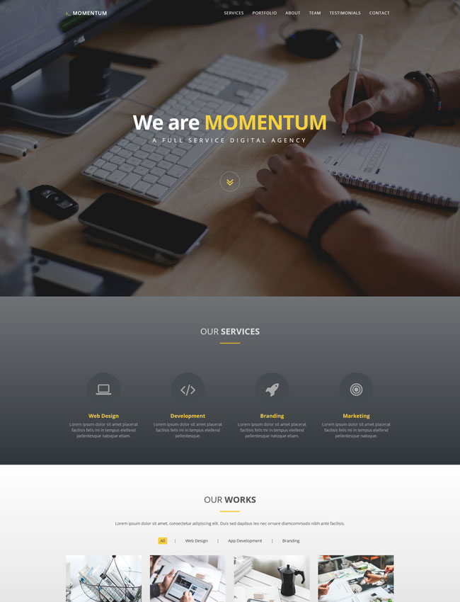 Momentum – Free One Page Creative Template