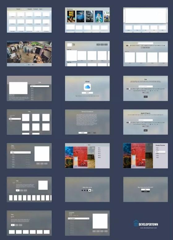 Apple tvOS UI Kit for Sketch