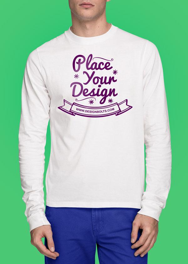 Free White T-shirt Mockup PSD