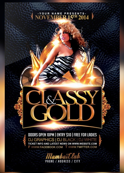 Classy And Gold Free Flyer Template