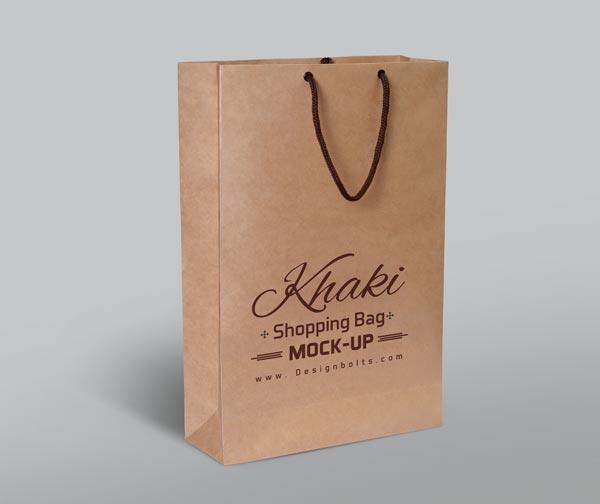 Free Khaki Shopping Bag Mockup PSD