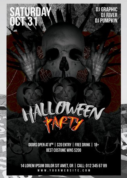 Halloween Party Flyer 4x6 FREE PSD TEMLATE