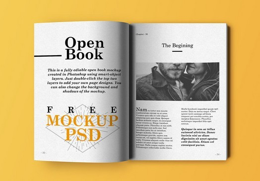 Open Book Mockup PSD