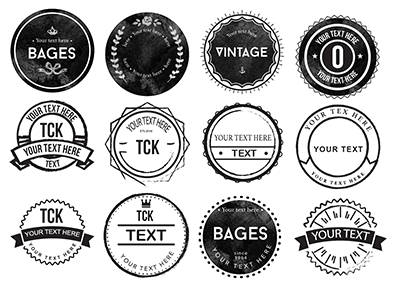 20 Rounded Rough Badges