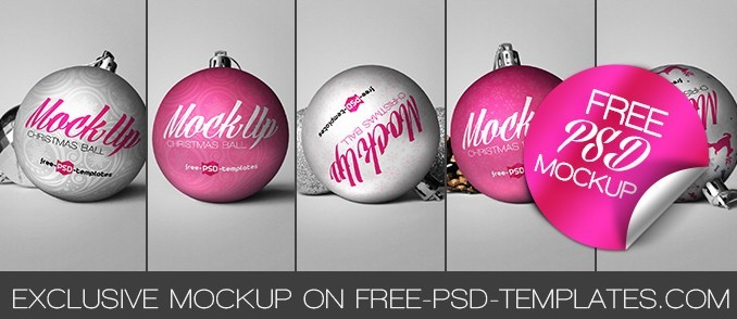 Free Christmas Ball Mock-up