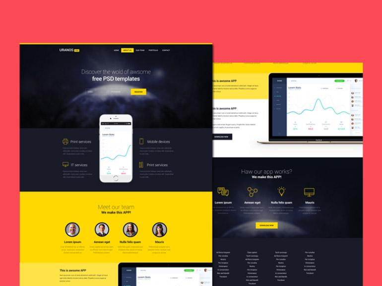 Uranos Free App Landing Page Template