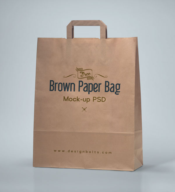 Free High Quality Brown Shopping Bag Packaging Mock-up PSD File