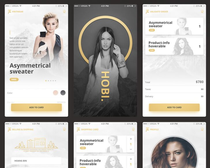 Free UI PSD Mobile App Fashion & Ecommerce