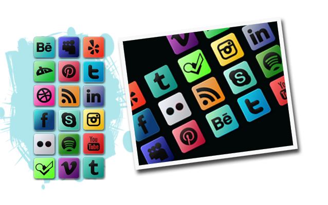 Multicolored Social Media Icons