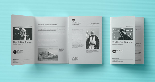 100 high quality free flyer and brochure mock ups for Double fold brochure template