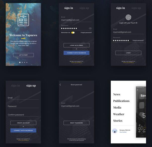 Tapnew Free mobile ui kit