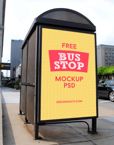 2 Free HQ Outdoor Advertising Bus Shelter Mock-up PSD Files