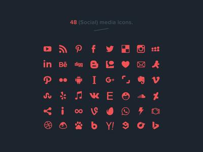 48 free social media icons (vector)