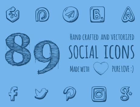 89 Hand Drawn Social Media Icons