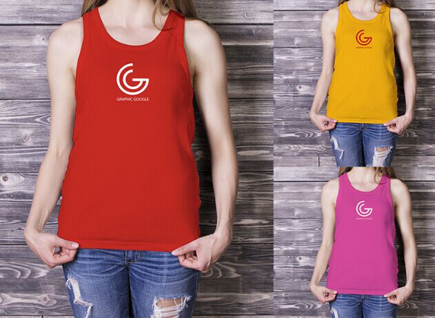 Beautiful Girl in Tank Top Mockup