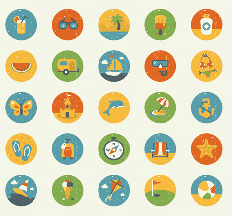 Summer And Essentials Icon Set