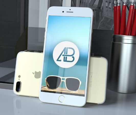 realistic gold iphone 7 plus mockup