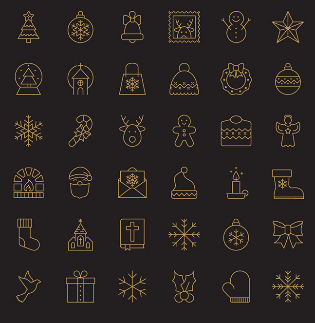 christmas-line-icon-set