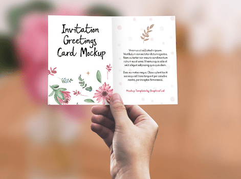 Invitation Greeting Card In Hand Mockup PSD