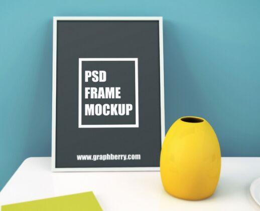 Picture Frame on Table PSD Mockup