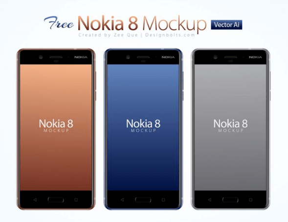 Free Nokia 8 Android Smartphone Mockup